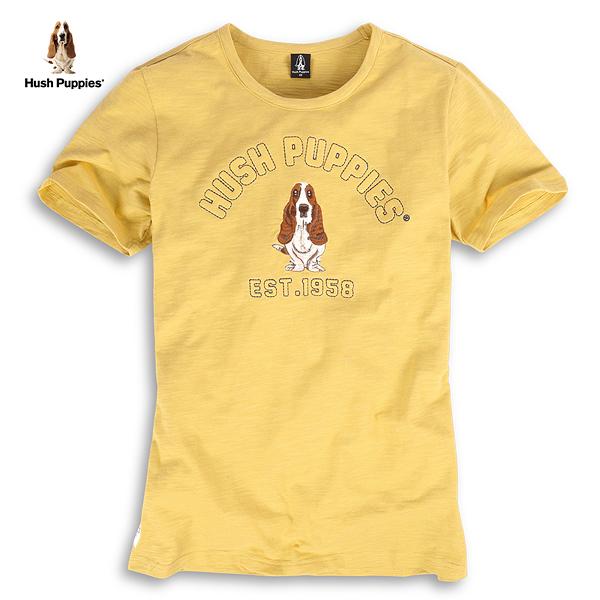 Hush Puppies T恤 男裝立體充棉字母繡花竹節棉T恤