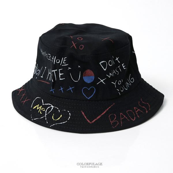 美式風格圖黑色漁夫帽【NHD2】