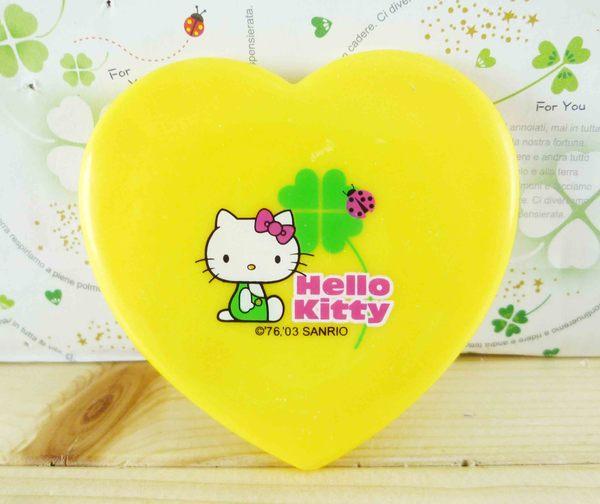 【震撼精品百貨】Hello Kitty 凱蒂貓-KITTY造型鏡-幸運草圖案-黃色
