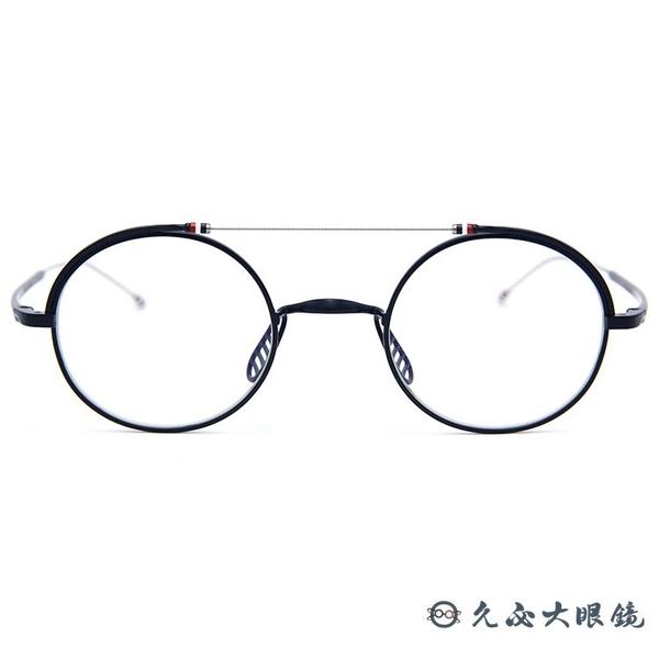 Thom Browne 眼鏡 雙槓 圓框 近視眼鏡 TBX910 霧藍-銀 (41mm/49mm) 久必大眼鏡