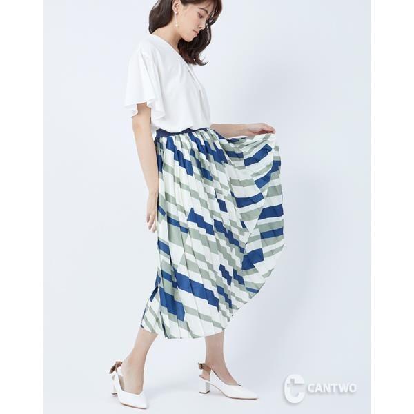 【南紡購物中心】CANTWO幾何多彩壓摺長裙-米多彩