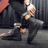 馬丁靴百搭黑色短靴男士中幫英倫風皮靴子zh834【極致男人】