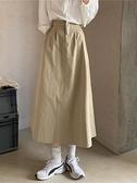 373卡其色半身裙女夏中長款裙子工裝裙口袋高腰傘裙季A字裙