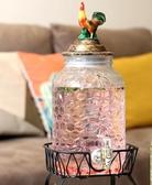 北歐玻璃水壺帶水龍頭甜品臺雙瓶果汁鼎飲料桶冷水壺啤酒桶釀酒瓶