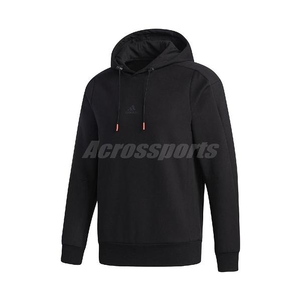 adidas 長袖T恤 TH HS FAB 黑 粉 男款 帽T 運動休閒 【ACS】 GF4021