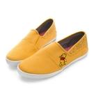Disney 萌力全開 小熊維尼帆布懶人鞋-黃-1200