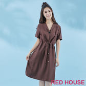 Red House-蕾赫斯-釦子V領長洋裝(共2色) 夏季優惠
