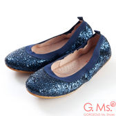 G.Ms.*旅行女孩II-亮片鬆緊口可攜式軟Q娃娃鞋(附鞋袋)*高貴藍