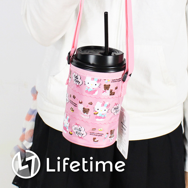 ﹝Kitty甜點粉飲料袋﹞正版環保杯套 可調繩長 尼龍繩 手提袋 凱蒂貓〖LifeTime一生流行館〗B19105