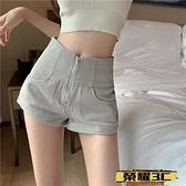 牛仔短褲 短褲女夏季高腰熱褲顯瘦闊腿褲子百搭2021新款寬鬆工裝褲子牛仔褲  榮耀 上新