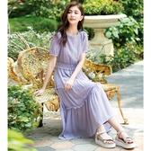 春夏7折[H2O]蕾絲拼接楊柳布多層次蛋糕裙長洋裝 - 白/粉/淺紫色 #0674011