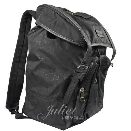 茱麗葉精品【全新現貨】GUCCI 510336 經典雙G緹花緞面尼龍束口翻蓋後背包.黑