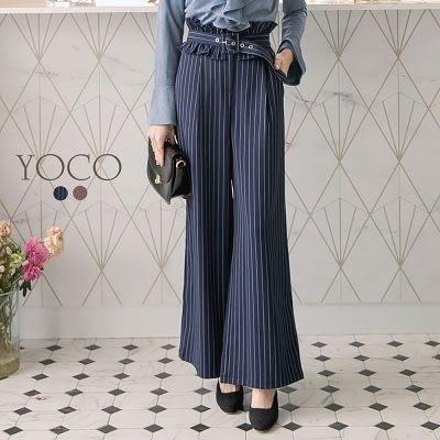 東京著衣【YOCO】都會時髦條紋荷葉腰帶寬褲-S.M.L(172749)