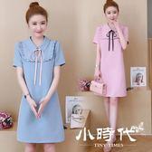 小禮服 長裙 洋裝 夏裝微大碼女裝減齡最愛顯瘦翻領連身裙