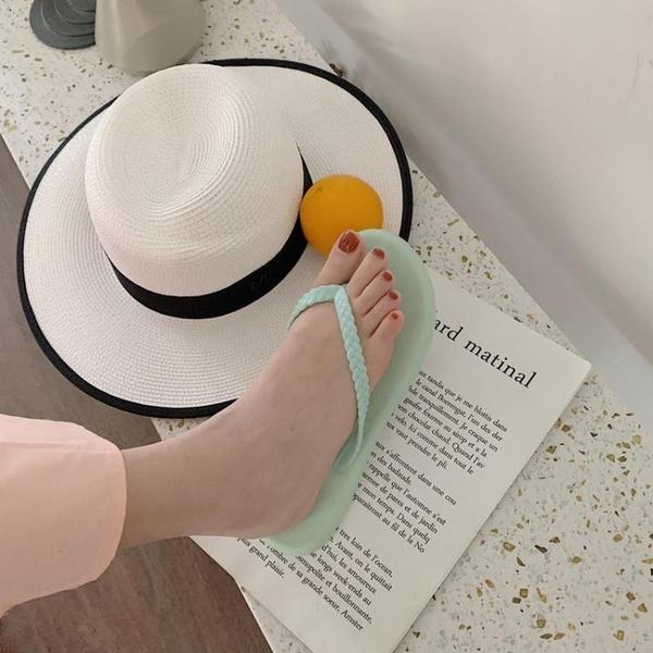 人字拖韓國編織帶女時尚防滑平底百搭夾腳沙灘鞋夾腳拖【慢客生活】