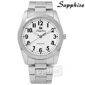 SE Sapphire / SE013M01W / 簡潔大方夜光藍寶石水晶不鏽鋼手錶 白色 35mm