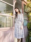 秋冬下殺↘5折[H2O]可當洋裝跟外罩衫兩穿式印花長洋裝 - 黑/米白/粉色 #9654003
