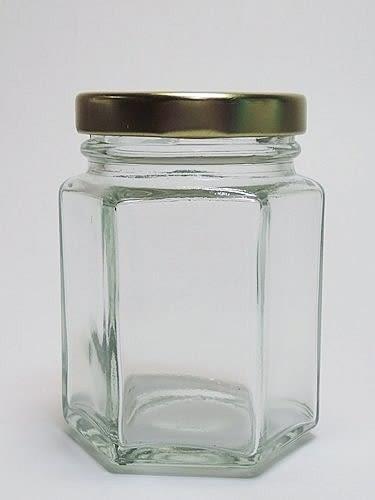 台灣製造 附金蓋 250cc六角瓶 果醬瓶 醬菜瓶 干貝醬 玻璃瓶 玻璃罐 T012