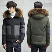 羽絨夾克-連帽時尚帥氣冬季保暖男外套2色73qb10【巴黎精品】
