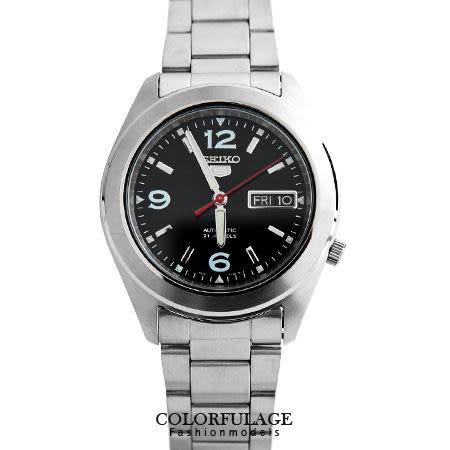 SEIKO精工五號 自動上鍊機械錶 夜光指針刻度顯示 防水30米腕錶 柒彩年代【NE1221】附贈禮盒+提袋