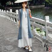 刺繡上衣漢服網紗薄外套寬鬆上衣泰國度假中長款雪紡開衫海灘防曬衣女