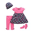 短袖套裝 Luvena Fortuna 小童 短袖洋裝+長褲+嬰兒帽子+嬰兒襪子 超值4件組 - 桃紅深藍愛心蘋果 H9689