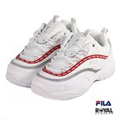 FILA 新竹皇家 Filary Tapey 白色 小LOGO 紅線 皮質 休閒鞋 女款 No.I9150
