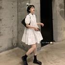 蛋糕裙 白色連身裙女裝2021夏季新款小個子polo娃娃領公主風寬鬆襯衫裙子 寶貝