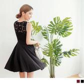 OB嚴選《DA3912-》質感後蕾絲鏤空拼接造型無袖V口洋裝.2色--適 S~L