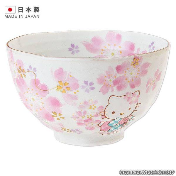 ★日本製★三麗鷗 HELLO KITTY 美濃燒 櫻花版 瓷器茶碗 / 飯碗