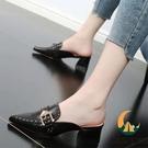 包頭拖鞋女外穿夏季中跟粗跟半拖鞋高跟涼拖【創世紀生活館】