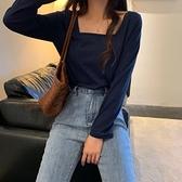 秋裝韓版女裝修身短款長袖T恤女百搭純色學生上衣顯瘦方領打底衫長袖T恤