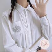 jk襯衫長袖春夏裝學院風基礎款刺繡短袖白色襯衣女【大碼百分百】