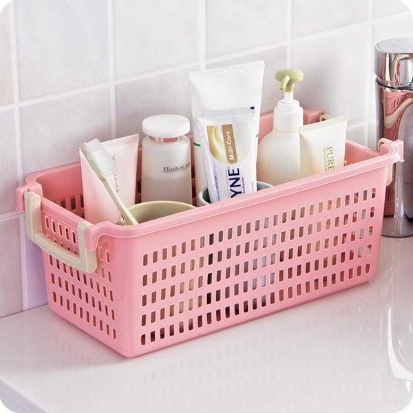 帶把手可疊加收納筐置物籃浴室辦公室收納籃雜物筐鏤空桌面收納盒