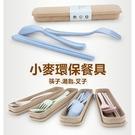 小麥環保餐具組可分解 筷子叉子湯匙 旅行露營野餐辦公室 健康無毒小麥纖維餐具收納盒【RS511】
