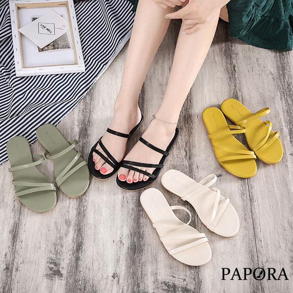 PAPORA輕量大方平底休閒涼鞋拖鞋K228綠/米/黃/黑