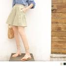 《BA6256》純色高含棉鬆緊腰抽皺口袋寬褲裙 OrangeBear