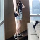 連體裙褲 復古港味牛仔背帶短褲女2021夏季韓版寬鬆可愛日系小個子連體熱褲 交換禮物