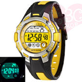 JAGA 捷卡 M998-AK 霓虹俏麗多功能電子錶 運動錶 女錶/男錶/中性錶 藍色夜光-黑黃(公司貨保證防水)
