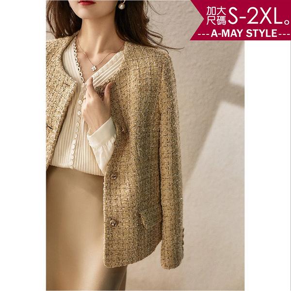加大碼-CEO必備款小香風長袖針織外套(S-2XL)