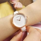 CK / K4E2N616 / 極簡風格 細緻迷人 不鏽鋼手環式指針腕錶 白x鍍玫瑰金 30mm