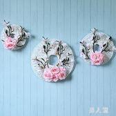 仿真玉蘭花壁掛室內客廳塑料植物背景墻面裝飾品假花藤編花藝掛飾 FR10849『男人範』