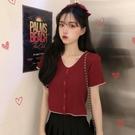 V領T恤夏季2020新款韓版針織衫短袖t恤女修身短款學生上衣設計感女小眾 貝芙莉
