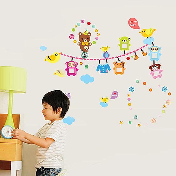 創意可移動壁貼 牆貼 背景貼 時尚組合壁貼 小熊兒童相片框【YV4167】BO雜貨
