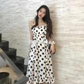 吊帶裙 吊帶裙韓國SZ夏大碼chic復古波點寬鬆顯瘦中長款仙女度假連衣裙子 『快速出貨』