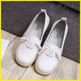 女鞋休閑平底皮鞋護士孕婦一腳蹬