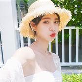 草帽女夏小清新渡假遮陽防曬海灘邊帽毛邊綁帶帽子