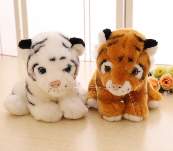 【22公分】仿真毛茸茸小老虎 玩偶 絨毛娃娃 聖誕節交換禮物 教室布置 畢業禮物