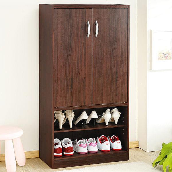《百嘉美》H-胡桃木色雙門六格鞋櫃/鞋架 置物櫃 收納櫃 書櫃 櫥櫃 書櫃