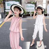 女童套裝 大尺碼新款韓版潮童裝中大童洋氣兒童時髦透氣兩件套 qf5053【黑色妹妹】